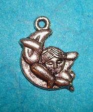 Moon Charm Angel Charm Tibetan Silver Spiritual 23mm Free Shipping Cherub Baby