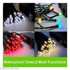 LED Al Aire Libre Resistente Agua Batería Navidad Luces Cuerda Hada TEMPORIZADOR