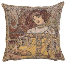 Mucha Autumn Alphonse Mucha Belgian Woven Tapestry Cushion Pillow Cover NEW