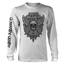 Amon Amarth 'Grey Skull' White Long Sleeve T shirt - NEW