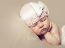 Hand Knitted Crochet Baby Hat Bow Prop Cashmerino Silk Girl Pink Newborn-12m