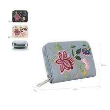Women's Designer Style Short Purse Girls Embroidered Flower Wallet Coin Purse