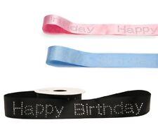 Diamante Happy Birthday Ribbon Sparkly Bling Cake Decoration Celebration Glitter