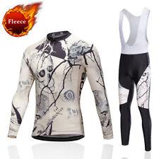 Men's Fleece Thermal Cycling Jersey Bib Pants Winter Bicycle Clothing Long Kit