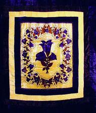 Queen/King Waterbed Bedspread - BLUE Floral VELVET