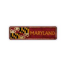 Maryland State Flag Usa Wall Art Gift Vintage Retro Look Street Metal Sign