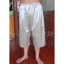 Mens Satin Pajama Pants Shorts Beach Lounge Trousers Sleepwear Loose Pants
