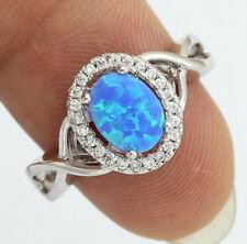Fashion Women 925 Silver Blue Fire Opal & White Topaz Ring Jewelry Wedding Party