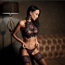 Sexy Womens Sexy Sheer Crop Tops Lace Halter Lingerie Bra+Pantie Briefs 2PC Set