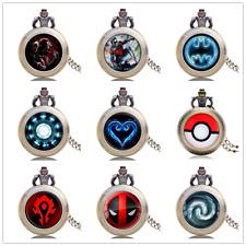 Antique WOW World of Warcraft Deadpool Kids Quartz Pocket Watch Necklace Chain