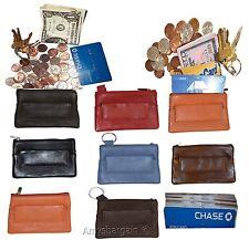 Change purse, Zip coin wallet, Leather change purse w/key ring cards, bills BN