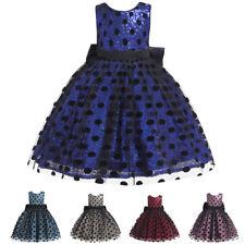 Princess Kids Girls Sequins Polka Dot Dress Bridesmaid Wedding Party Dresses New