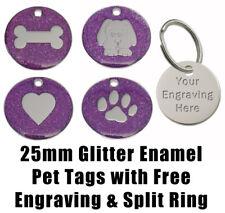 Purple 25mm Glitter Enamel / Nickel - Pet ID / Dog Identity Tag - Engraved FREE