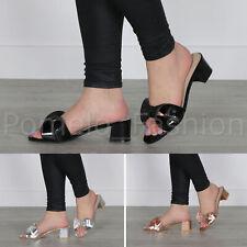 Da Donna con Tacco Medio a Blocco Matrimonio Gioiello Fiocco infradito muli sandali taglia