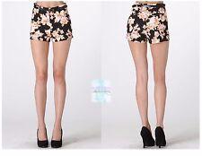 Fashion Women  Black Floral High Waist Short Hot Pants Skinny Slim Fit Casual