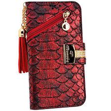 SnakeSkin Red PU Leather Tassel Flip Wallet Case Cover Card Holder for iPhone