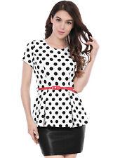 Allegra K Women Short Sleeves Contrast Belt Polka Dots Peplum Top