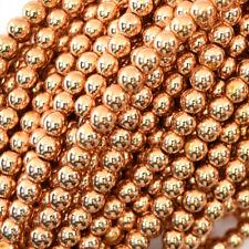 "Rose Gold Hematite Round Beads 15.5"" Strand S1 2mm 4mm 6mm 8mm 10mm 12mm"