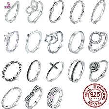 Voroco 925 Plata Anillos Apilables simple múltiples estilo regalo de bodas para mujeres chicas