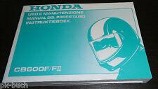 Manual Del Propietario Uso E Manutenzione Instruktieboek Honda CB 600 F II -1999