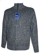 Men's Full Zip  Plain Knitted Sweater Micro Fleece Lined Cardigan - J J Willis
