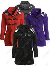 NEW Womens Check HOOD Coat Ladies JACKET COAT PLUS Size 16 20 22 24 26 28 Black