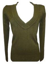 Ex H&M Green Beige Knitted Smart Top Sweater Sweatshirt Jumper Size 10 12 14