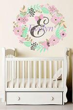 Custom Name Flowers Wall Decal Nursery Girl Room Sticker Full Color Decor Sd9