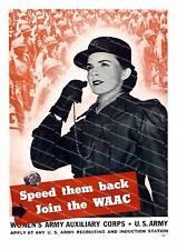 Velocidad nuevamente unirse a la WAAC, Reproducción de Póster de Segunda Guerra Mundial.