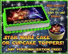 Star Wars Edible Cake Toppers image sheet sugar paper THE FORCE AWAKENS cupcakes