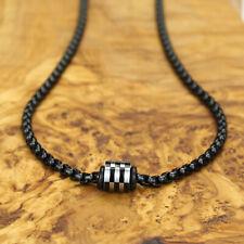 Herren Kette Black Gun mit Firestone-Beads | Edelstahl Design Perlen Matt Silber