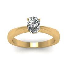 Diamant Ring Solitär 0.50 Ct. Ovalschliff 18K Gelbgold Ring + GIA Zertifikat