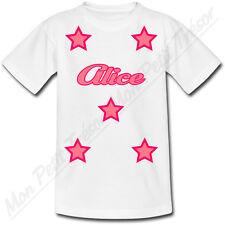 T-shirt Enfant Etoiles Roses avec Prénom Personnalisé