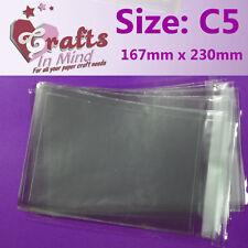 100-A5 / C5 Cello BAGS Self Seal per cartoline d'auguri