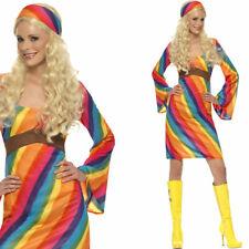 Señoras 60s Hippie Hippy Retro Fancy Dress Costume + Vincha para Smiffys 22442