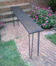"Beautiful dark walnut poplar console table sofa table 30"" raw steel hairpin legs"