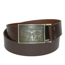 New Levis Men's Leather Bridle Belt with Antiqued Removable Plaque Buckle