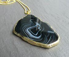 """Large Agate Geode Slice Pendant Necklace Boho Quartz Hippie Long Chain 30-36"""" UK"""