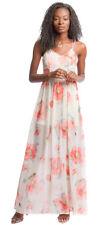 She + Sky Ivory Beige Chiffon Floral Woven Sheer Lined Sleeveless Maxi Dress