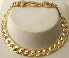 GENUINE SOLID 9ct YELLOW Gold UNISEX FLAT CURB BRACELET PARROT CLASP 19,21,23cm