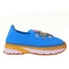 DOLCE & GABBANA Neoprene Espadrilles Sneaker Shoes Strass Turquoise Blue 06655