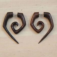 Organic Handmade Carved Wood Illusion Ear Plugs Curled Triangle Hangers Earrings