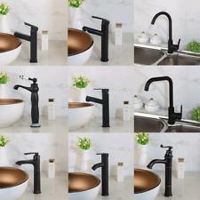 Bathroom/Kitchen Black Basin Sink Vanity Mixer Faucet Single Handle Brass Tap