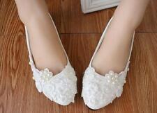 Escarpin éscarpins chaussures pour femmes ballerine blanc perles jeune mariée