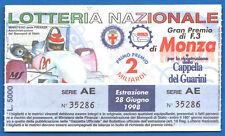 BIGLIETTO LOTTERY TICKET LOTTERIA NAZIONALE DI MONZA 1998 - G.P. DI F3
