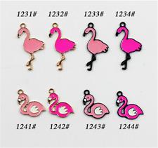 P293 6pc/20pc Charms flamingos Pendant Beads Necklace Jewellery Making Enamel