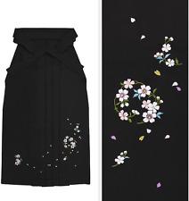 Japanese Women's Traditional Kimono Embroidery HAKAMA Skirt Sakura Black Japan