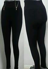 Ladies Womens New Fashion Leggings Jeggings Black Zip Design Strech Legging