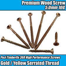 5.0mm 10G PREMIUM WOOD SCREWS CUTTER THREAD POZI CSK TIMBERFIX 360 GOLD YELLOW