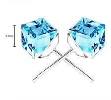 925 Sterling Silver Swarovski Element Amethyst Crystal Square Stud Earrings J1